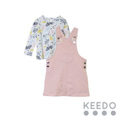 Pinni Set - a funky print tee combined with plain pinafore dress Winter Sky, Pinafore Dress, Blush Color, Printed Tees, Accent Colors, Kids Outfits, Colours, Pink, Collection