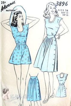 1940s Pin Up Style Playsuit and Skirt Beach Wear Pattern Flattering Side Button Styles Advance 3896 Vintage Sewing Pattern Bust 32 FACTORY FOLDED