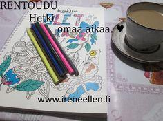Rentoudu ja väritä #IreneEllen väritykirjaa.  #aikuistenvärityskirja #värityskirja