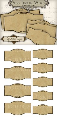 Blank Apothecary Labels - add your own wording. To add your own text to the blank labels: Four possibilities: You add your own text in handwriting Printable Blank Apothecary Labels Vintage Diy, Vintage Labels, Vintage Tags, Vintage Style, Printable Labels, Free Printables, Labels Free, Objet Harry Potter, Hansel Y Gretel