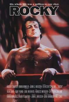 """Rocky"" (1976) is a film directed by John G. Avildsen and both written by and starring Sylvester Stallone. It tells the rags to riches story of Rocky Balboa, an uneducated but kind-hearted debt collector for a loan shark in the city of Philadelphia. Rocky starts out as a club fighter who later gets a shot at the world heavyweight championship. Also starring: Talia Shire, Burt Young, Burgess Meredith, and Carl Weathers."
