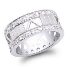 Bling Jewelry Sterling Silver CZ Roman Numeral Band Ring