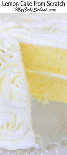 The BEST Lemon Cake Recipe from Scratch by Heavenly with Lemon Curd Filling and Lemon Cream Cheese Frosting! My Cake School Cake Recipes, Tutorials, and More! Best Lemon Cake Recipe, Homemade Lemon Cake, Lemon Cake Recipes, Homemade Breads, Lemon Cake From Scratch, Cake Recipes From Scratch, Thanksgiving Cupcakes, Lemon Curd Filling, Lemon Cream Cheese Frosting