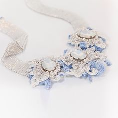 Lace, Swarovski crystals, silk, Swarovski elements by Michael Polkanov https://www.etsy.com/listing/173477594/decorated-lace-necklaces-long-tenderness