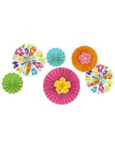 Hibiscus Luau Paper Fan Decorations - Party City