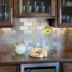 faux shiplap backsplash with peel 'n stick flooring | faux shiplap