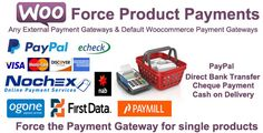 Woocommerce Force Product Payments by TicianaH Woocommerce Force Product Payments Plugin ¨C Force Any External Payment Gateway (Ogone , NAB, Echeck , PaypalPro, Nochex , FirstData ,Paymill , Credit Cards , )and Default Woocommerce Payment Gateways as : Direct Bank Transfer , Ca