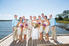 Wedding party pictures along the boardwalk at Festival Park.  Photo by Groves & Groves Photography www.engagingeventsobx.com  #engagingeventsobx  #festivalparkwedding