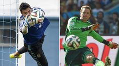 A combination of file photos shows Argentina's goalkeeper Sergio Romero (L) and Germany's goalkeeper Manuel Neuer