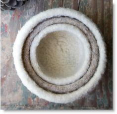 Felted Knit Nesting Bowls - two down, more to go.  These are so cute! (with pattern and Felting knits video | Felting | CraftGossip.com)