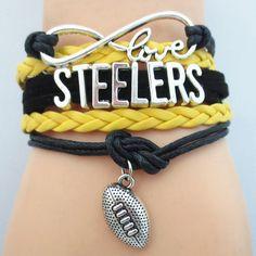 Infinity Love Pittsburgh Steelers Football Bracelet BOGO