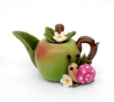 1/12TH scale  Apple with snail  teapot  BY LORY by 64tnt on Etsy