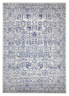 Blue Art Moderne Lalique Rug by Network Rugs. Get it now or find more All Rugs at Temple & Webster. Transitional Coffee Tables, Transitional Living Rooms, Transitional Decor, Transitional Bathroom, Fade Styles, Floral Rug, Floral Design, Art Moderne, Large Rugs