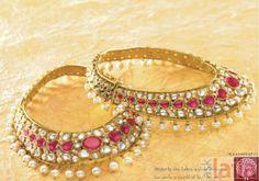 Stunning payal with kundan rubies and pearls