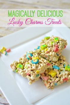 Lucky Charms Treats: Perfect for St. Patrick's Day!! #recipe #stpatricks #foodcraft #forthekids --> LOVE these from @Vera Kulikova Sweeney (Ladyandtheblog.com)