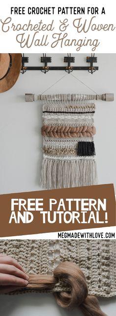 Free Crochet Pattern for a Crocheted & Woven Wall Hanging — Megmade with Love - Crochet - Crochet Wall Art, Crochet Wall Hangings, Crochet Home, Free Crochet, Diy Crochet Wall Hanging, Macrame Wall Hanging Patterns, Weaving Wall Hanging, Macrame Patterns, Crochet Patterns