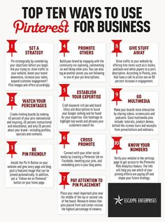Top 10 ways to use Pinterest for your business! EscaypeEnt.com