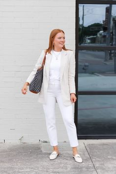 White Casual Summer Workwear - Oh What A Sight To See Cute Work Outfits, Casual Outfits, Barrington Gifts, Summer Work Wear, Cute Blouses, Linen Blazer, White Casual, White Pants, Work Pants