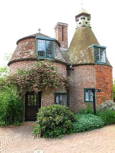 """Oast house with one cowl converted into a dovecote.Many oast houses in the Sussex and Ket countryside have been converted into homes"""