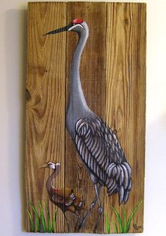 Sandhill Crane with Chick Hand Painted on Wood by roseartworks