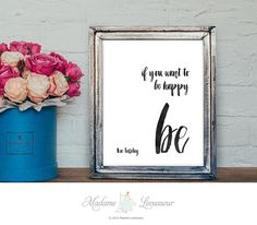 Printable Art be happy Leo Tolstoy quote by TheParisWife on Etsy