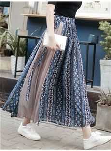 Kotton Chiffon Splice Print ethnischen Stil langen Schal - 옷-치마 Muslim Fashion, Ethnic Fashion, Asian Fashion, Modest Fashion, Skirt Fashion, Hijab Fashion, Fashion Dresses, Modest Dresses, Modest Outfits
