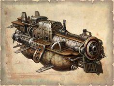 Air ship designed after a locomotive #steampunk #fantasy inspiration