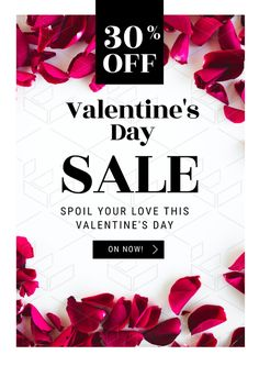 Valentine's Day Sale - Poster - Valentine's Day Template - DIY Valentine's Day Posters and Flyers. Create awesome Valentine's Day Promotions with Easil.  Drag, Drop, Designed!