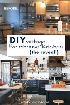 It's finally that time! I'm thrilled to reveal our DIY vintage farmhouse kitchen project! Read all about how we turned our drab kitchen into a vintage farmhouse fab kitchen ❤️