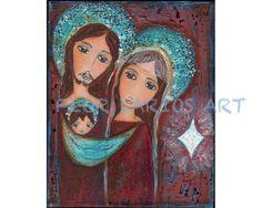 White Star Nativity  Folk Art  PRINT from Painting 8 by FlorLarios