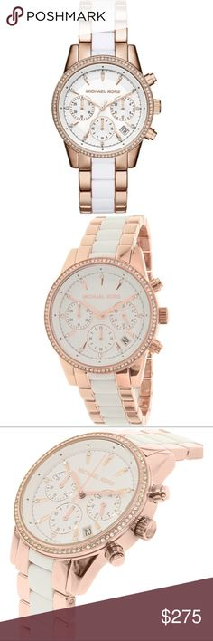 MICHAEL KORS ROSE GOLD, WHITE & CRYSTAL LINK WATCH Michael Kors rose-gold tone, white acetate & crystal link strap watch offers the sophistication of the city fashionista!   Radiant and refined, this stunning watch fuses rose gold-tone stainless steel & white acetate in a classic menswear bracelet. Chronograph sub dials enhance the chic statement, while a pavè-trimmed bezel lends subtle shine  -Mid-Size  -37mm Case  -Chronograph Movement  -Clasp Fastening  -Water Resistant Up to 5 ATM  Comes…