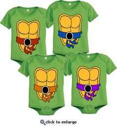 Teenage Mutant Ninja Turtles Green Costume Infant Baby Onesie Romper. I HAVE TO HAVE THESE!!!!!!