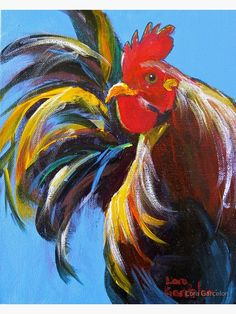 'Kauai Rooster' Art Print by Lora Garcelon Bird Painting Acrylic, Rooster Painting, Rooster Art, Cow Painting, Acrylic Art, Watercolor Paintings, Chicken Painting, Chicken Art, Farm Art