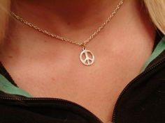 Peace sign necklace in sterling silver