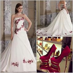red an white wedding dress | Red And White Bridal Gowns ,For Sale ...