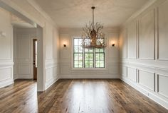 Adding picture frame molding above and below chair rail in LV and through foyer/upstairs. Home Living, Living Room Decor, Judges Paneling, Dining Room Wainscoting, Painted Wainscoting, Picture Frame Molding, Wall Trim, Moldings And Trim, Crown Molding