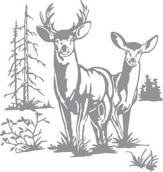 Free deer head patterns scroll saw patterns medium patterns glass etching stencil of doe and buck deer with trees in category north american mammals north woods trees pronofoot35fo Choice Image