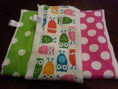 Cloth Diaper Burp Cloth Set of 3  Designer by TamsTinyBlessingsLLC, $25.00