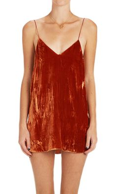 Crushed Velvet Zillah Slip Dress - Rust (custom made)