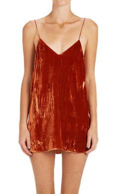 Crushed Velvet Zillah Slip Dress - Rust (custom made)