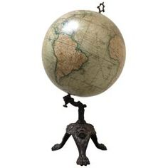 Pre-World War 1 Terrestrial Globe by J. Lebegue et Cie, Paris, France Vintage Furniture, Cool Furniture, Modern Furniture, Globe Ornament, World Globes, Victorian Art, French Art, Large Art, Decorative Objects