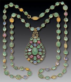 Circa 1900 gold, emeralds, sapphires, and fire opals Necklace ~ Tiffany & Co.