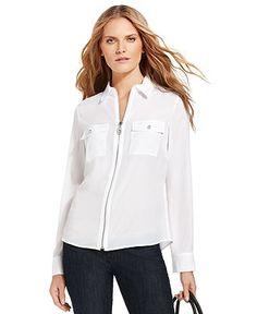 MICHAEL Michael Kors Top, Long-Sleeve Zip-Front Work Shirt - Womens - Macy's