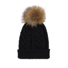 Somerville Cable Knit Hat - Black: A gorgeous hand-knitted cable-knit raccoon fur pom pom bobble hat. Ideal for keeping your head warm and protected on chilly autumn, winter and spring days. Available in a range of colours with raccoon fur pom pom.   The cable knit hat is made from hand knitted super soft acrylic.   One size