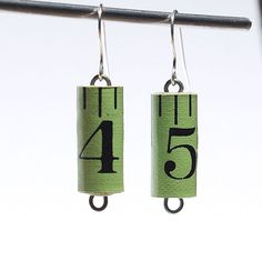 Tape Measure Earrings- Upcycled Green Found Object Jewelry