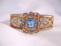 Art Deco Blue Rhinestone Silver Filigree by CarriersCozyCottage http://etsy.me/zqAOVg via @Etsy