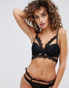 9270f2f75e ASOS Marilyn Lace Caged Moulded Underwire Bra Set in Black at asos.com