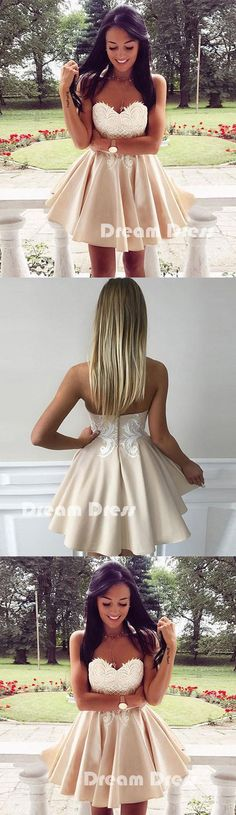 Cute lace applique short prom dress, cute homecoming dresses,PD220005 #promdress #fashion #shopping #dresses #evening