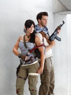 Lara Croft, Tomb Raider and Nathan Drake, Uncharted cosplay. Photography by Aaron Charlton.
