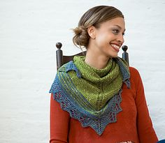 This beautiful triangular shawl features a garter stitch body, a striped border and aspen leaf lace edging. The end result is the perfect accessory for a crisp autumn day.
